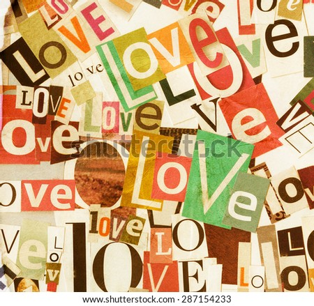 Handmade colorful collage of newspaper and magazine paper clippings saying 'Love' on paper background   - stock photo