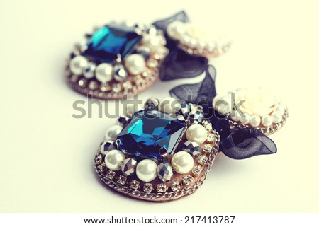 handmade earrings  with jewels. Vintage style - stock photo