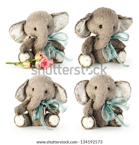Handmade elephant in classic vintage style on white background. - stock photo