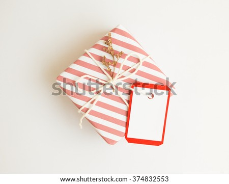 Handmade gift box  with dried flower for valentine day on white background. - stock photo