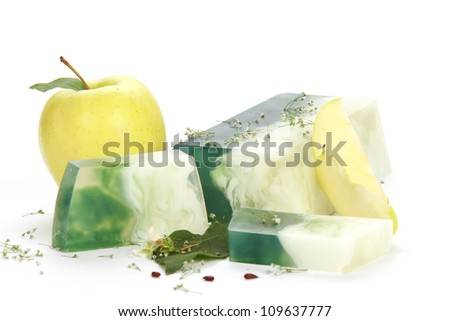 Handmade green apple Soap closeup.Spa products - stock photo