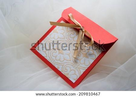 Handmade greeting envelope  - stock photo