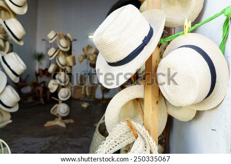 Handmade hats for sale in Cuba  - stock photo