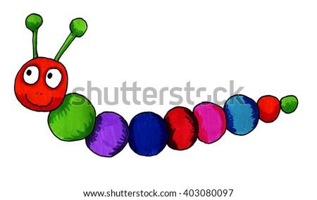 Handmade illustration of a fantasy worm - stock photo