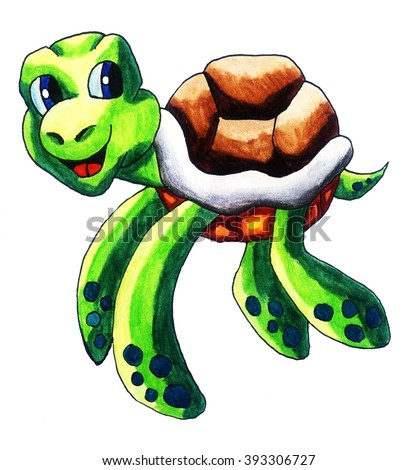 Handmade illustration of a sea turtle - stock photo