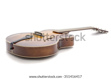 Handmade  jazz guitar isolated on a white background - stock photo