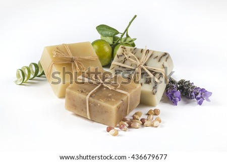 Handmade lemon, lavender and honey Soap. Natural exfoliating soap made with honey, lemon and lavender - stock photo