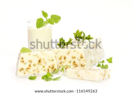 Handmade mint Soap closeup.Spa products - stock photo