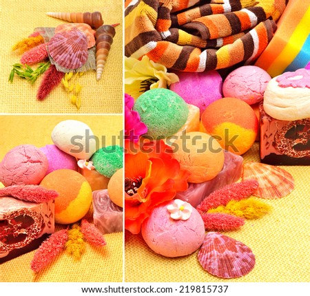 Handmade natural soap, shells and pebbles.collage - stock photo