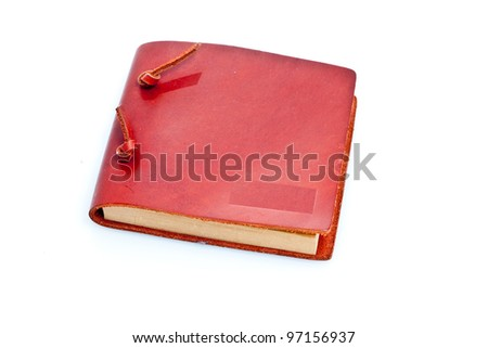 Handmade Notebook/Isolation against white background of leather bound handmade notebook from China - stock photo