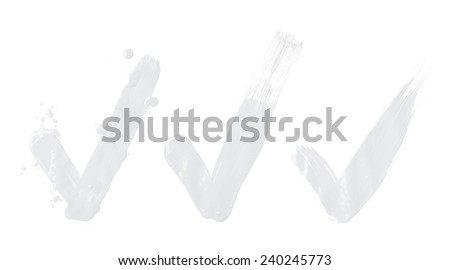 Handmade oil paint brush stroke yes tick mark, isolated over the white background, set of three images - stock photo