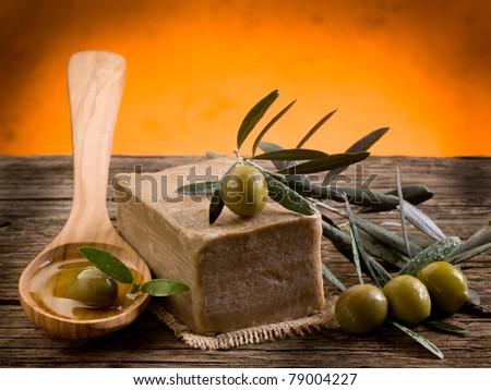 handmade olive oil soap - stock photo