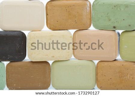 Handmade olive soap bars - stock photo