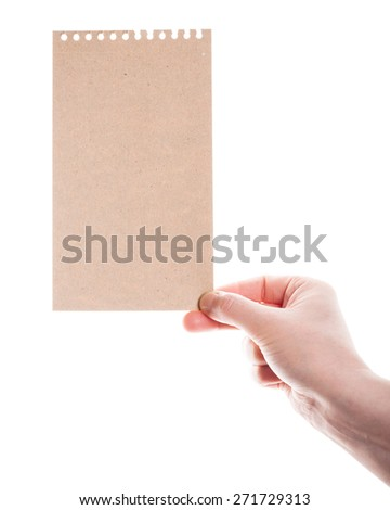 Handmade paper card in woman hand isolated on white background   - stock photo