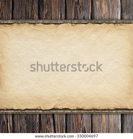 Handmade paper sheet on old wood plank wall background - stock photo