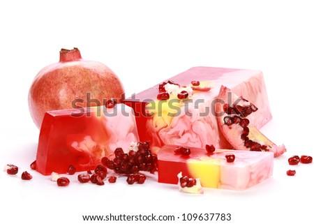 Handmade pomegranate Soap closeup.Spa products - stock photo