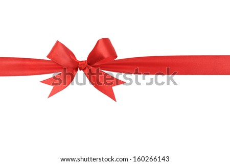 handmade red ribbon bow horizontal border, isolated - stock photo