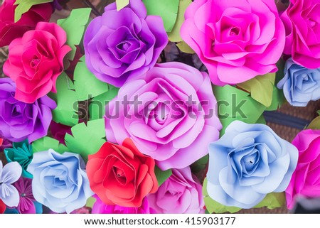 Handmade rose paper backgrounds,Paper flower backdrop wedding wallpaper - stock photo