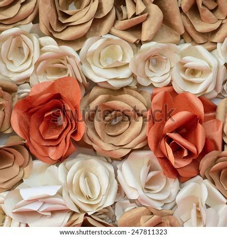 Handmade roses backdrop  - stock photo