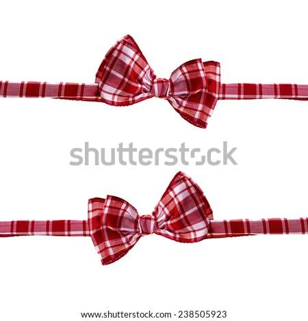 handmade scottish bow tie isolated on white background - stock photo