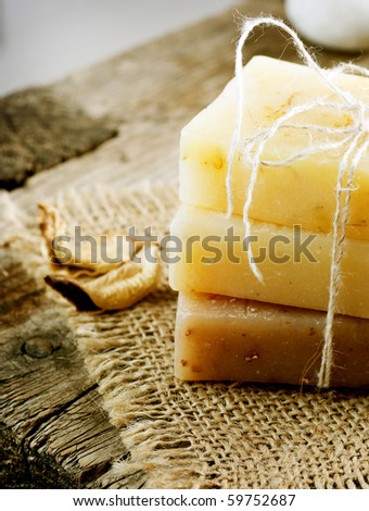 Handmade Soap border.Spa products - stock photo