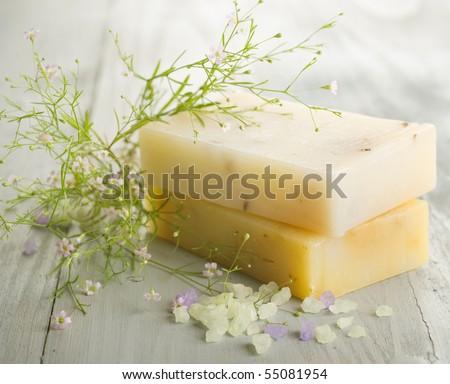 Handmade Soap.Spa cosmetics - stock photo