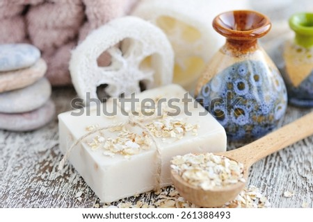 Handmade soap with oatmeal and milk - stock photo