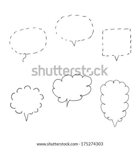 handmade speech bubbles. set of six design elements - stock photo