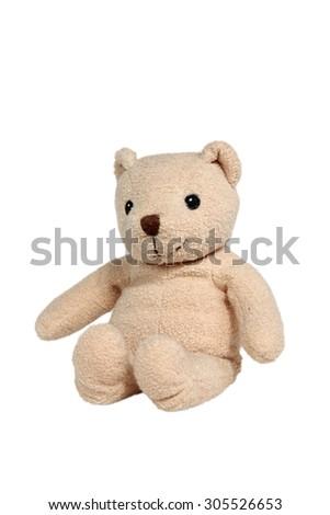 Handmade teddy bear isolated on white background - stock photo