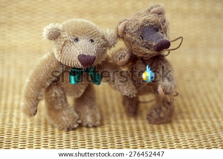Handmade Teddy Bear with flowers - stock photo
