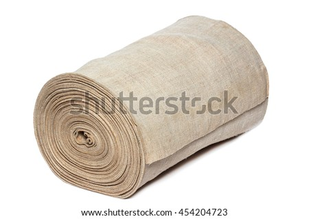 Handmade textile in roll isolated on white background - stock photo