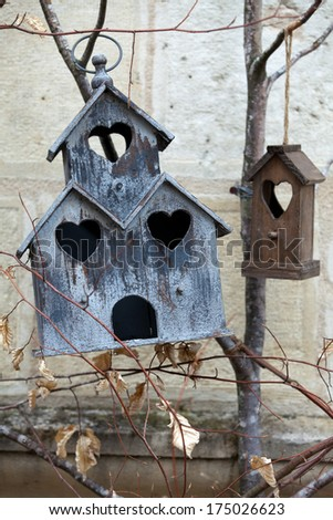 Handmade the wooden house for birds - stock photo