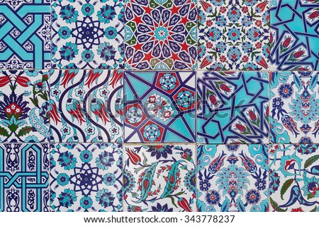 Handmade Turkish Blue Tiles on the wall in Istanbul City, Turkey.  Close up - stock photo
