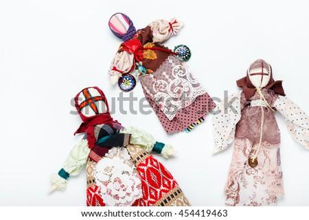 Handmade Ukraine traditional dolls background - stock photo