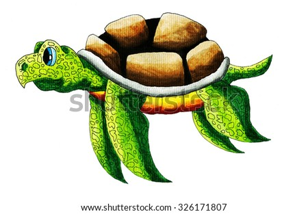 Handmade watercolor illustration of a funny sea turtle - stock photo