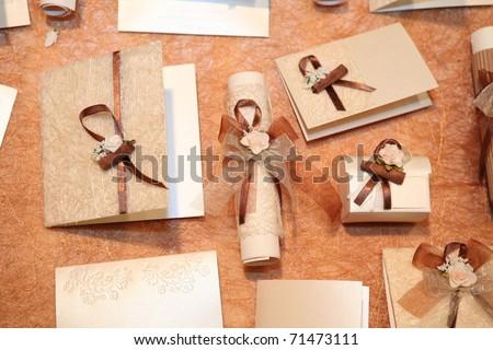Handmade wedding invitations made of paper - stock photo