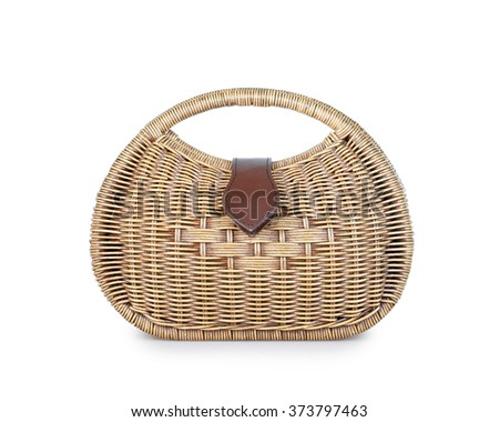 Handmade Wicker bag isolated on the white backgrounds. - stock photo