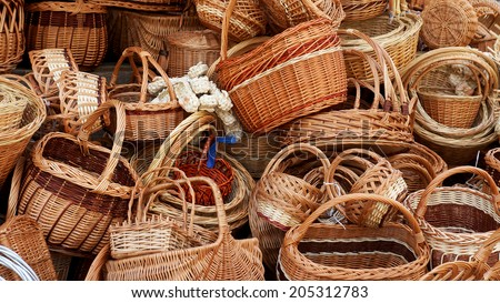 handmade wicker basket - stock photo