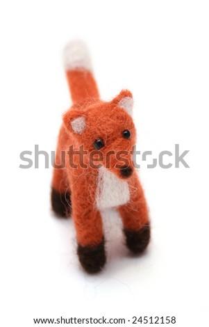 handmade wool fox gift idea - stock photo