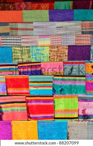Handmade woven fabrics in thai - stock photo