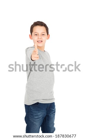 Handome little boy posing - stock photo