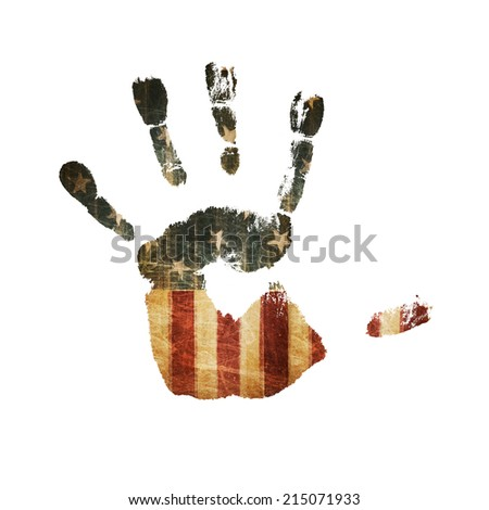 Handprint with united states flag texture - stock photo