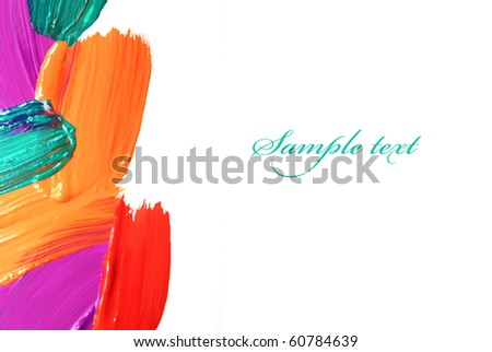 handprinted colorful frame - stock photo