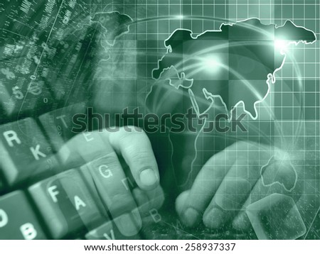 Hands and map - abstract computer background in greens. - stock photo