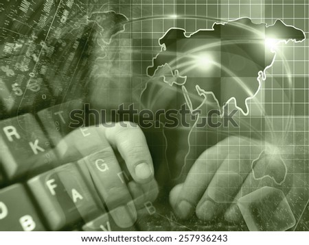 Hands and map - abstract computer background, sepia toned. - stock photo