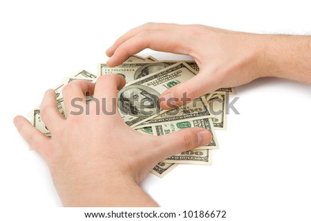 Hands and money, isolated on white background - stock photo