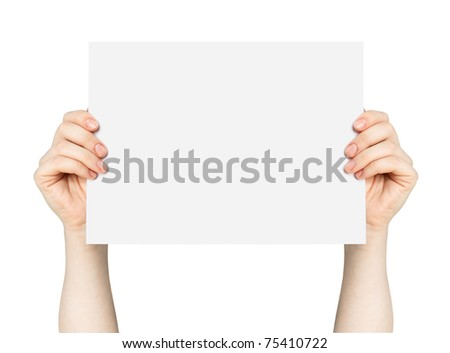 Hands and paper isolated on white background - stock photo