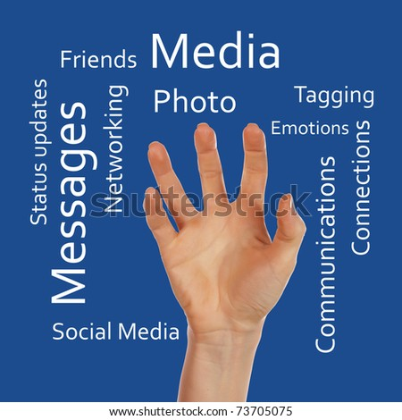 Hands and social inscription on a colored background. - stock photo