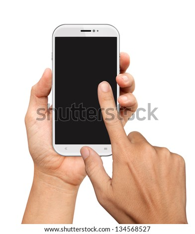Hands are holding and point on White Smart Phone Isolated on White - stock photo