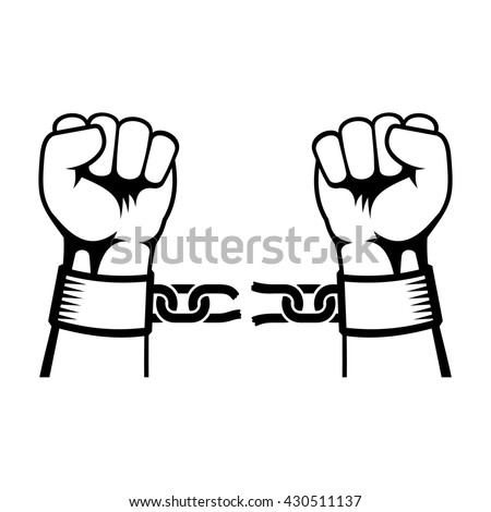 Hands Breaking Steel Chain Icons on White Background.  - stock photo